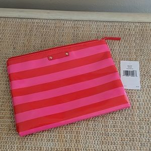 Kate Spade Striped Large Pouch Cosmetics Bag